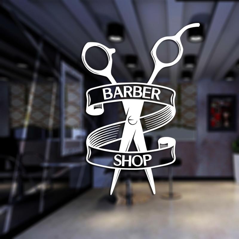 Barber Shop Sticker Chop Bread Decal Haircut Shavers Posters Vinyl Wall Art Decals Decor Windows Decoration Mural Mb0053