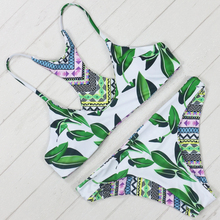 Bikini 2016 Sexy Brazilian Style Printing Bikini Feminino Biquinis Green Tree Leaf Women Bathing Suit Worth Buying Swimwear(China)