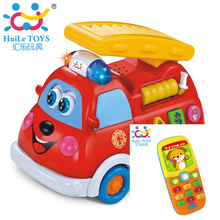 Free Shipping Children Toy Car Spanish & English Language Kids Car Fire Truck with Music and Baby Toy Mobile Phone Huile Toys(China)