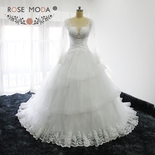 Buy Rose Moda Sheer O Neck Long Sleeves Princess Wedding Ball Gown Illusion Back Wedding Dresses 2017 Custom Made for $307.12 in AliExpress store