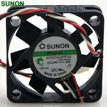Original SUNON KDE2404PFVX 40*40*10 24V 1.9W 4cm three wire silent power computer inverter cooling fan(China)