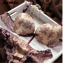 Buy Brand New 2017 French Romantic Brand Lace Bra Sets Sexy Women Underwear Set Push BC Bra Panty Set seamless lingerie set