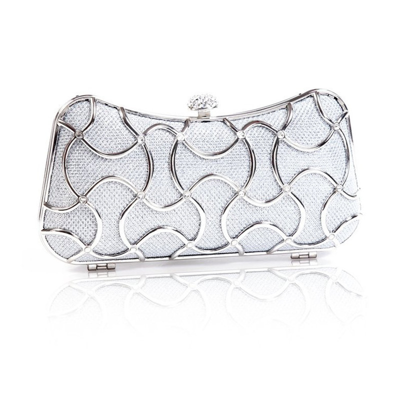 2016 100% New Evening Bag Solid Color PVC Soft Clutch Evening Bag Rhinestones Shiny Satin Handbag with Chain 3 Colors<br>