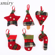 Smiry 1pc Cute Cartoon 6 Styles Christmas Pendant Festival Party Christmas Cloth Bags Crafts Children Candy Holder Storage Bags