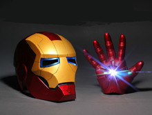Newest 1:1 Cosplay The Avengers 2  Iron man Mark 3 LED light Gloves + Helmet luminous Action Figure Toy model costume party gift