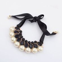 Match-Right New 2015 Hot Simulated Pearl Necklace Jewelry Silk Chai Statementn Necklaces For Gift Party Wedding Engagement(China)
