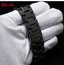 Mrs win Ceramic white watchbands 22mm Strap Curved End Solid Links watch accessories for AR1400 watch BRACELETS for wholesale(China)