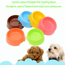 Candy Color  Small Dogs Feeder Bowl Plastic Pet Dog Cat Bowl Durable Water Dish Feeder Pet Bowl