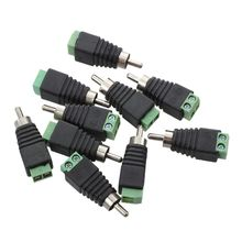 Coax Cat5 Cat6 to RCA Male CCTV Camera Audio Balun Connector 10 Pieces Black with Green(China)