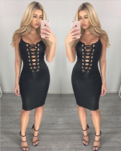 Sexy Woman Bandage Evening Clubbing Black Dresses Pu Leather Bodycon Dress Spahetti Strap Sexy Beauty Dresses
