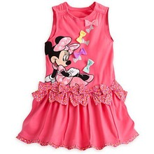 2015 New arrival Girls Dress cartoon Minnie Bow Polka Dot vest short-sleeved dress casual and mickey 100% cotton baby girls