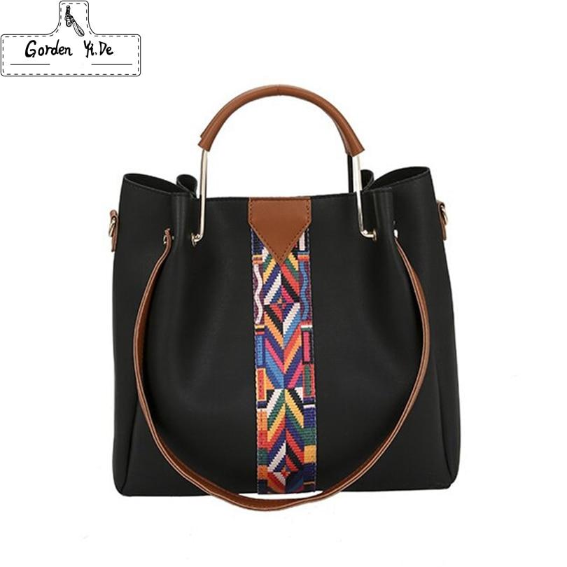 Fashion Colorful Strap Handbag 2017 Women High Quality PU Leather Shoulder Bag Brand Desing er Lady Composite Bag Large Capacity<br>
