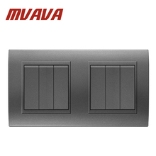 MVAVA Dual Double 3 Gang Electrical Push Button Light Wall Switch 16A 110~250V 220V Fire Retardant PC Panel Free Shipping