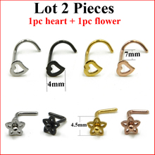 Lot 2 Pieces 316L Surgical Steel Screw Nose Ring Wiht Heart Top L Shape Nose Stud With Violet Flower Top Nose Piercing 20g(China)
