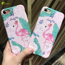 KL-Boutiques for Coque iPhone 6 Case Cartoon Rose Flamingo Banana Leaves Plastic Cover for iPhone 7 6 6S Plus Cases Men Women i7