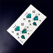 Cute Diamonds Crystal Temporary Waterproof Tattoo Stickers Gem Designs Fake Flash Transfer Tattoo Paste Paper Kids Xmas Gifts