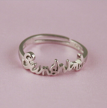 top quality 925 sterling silver ring simple letter unique jewelry silver open ring hot sale cheap sale women girl