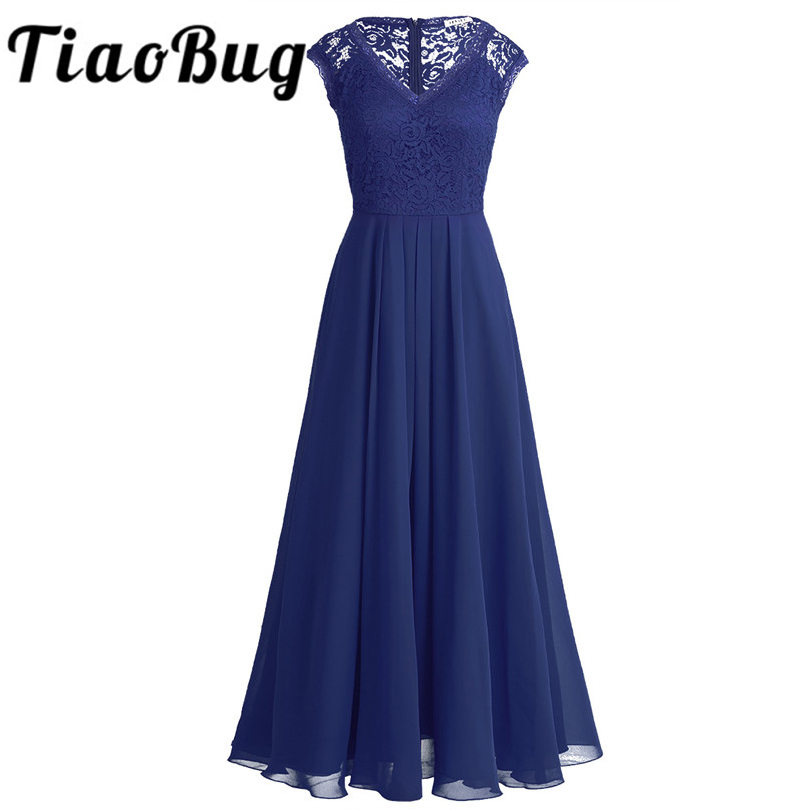 TiaoBug Women Ladies Sleeveless Floral Lace V Neck Chiffon Lace Bridesmaid Maxi Dress Long Prom Party Dress Vestido De Festa