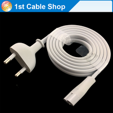 Premium 6ft 1.8M white EU power cable corld for apple TV Mac Mini Time Capsule Figure 8 C7 to Euro Eu European 2 pin AC Plug(China)