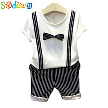 Sodawn In the summer of 2017 the new tie gentleman suit children baby two-piece fashion and personality(China)