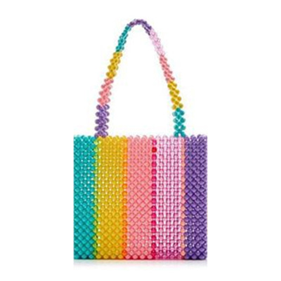 Womens Crystal Beadeds Bags Rainbow Woven Totes Multi-Colours Acrylic Clutch Bag