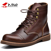 Z.Suo 16700 High Top Single Layer Leather Men's Martin Boots The Best Cow Leather Solid Color Square Heel Man Western Boots