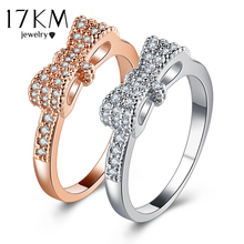 Buy 17KM Geometric Bowknot Rings Women Fashion Crystal Cubic Zircon Ring Engagement Party Wedding Jewelry Valentine's Gift for $1.87 in AliExpress store
