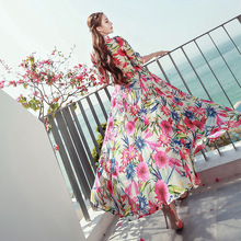 Robe Direct Selling Bohemian Bud Print Women Dress 2017 New Dress Bohemia Thailand Brand Put Down Holiday Clothing Wholesale(China)