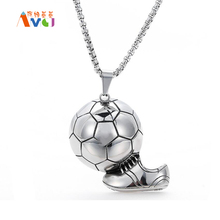 Antique Titanium Steel Shoes Soccer Shot Pendant Necklace World Cup Soccer 316L Stainless Steel Men's Chain Necklace(China)