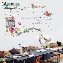 Flower Bird Cage Pvc Green Removable Sticker Living Room Bedroom Backdrop Beautification Wall Decoration Sticker(China)