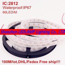 100M WS2812 5050 Digital RGB Color LED Strip,60LED/m 300LEDs Pixel Waterproof dream color 5V Led Strip DHL Free(China)