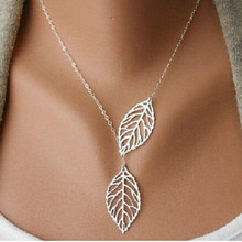 x348 New fashion golden hollow leaves leaves female charm jewelry, gold necklace pendant necklace clavicle chain