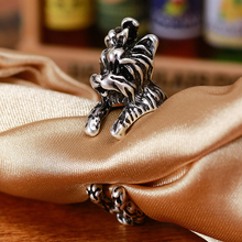 Antique Silver Yorkshire Dog Rings Streched Animal Ring Men Women Best Friend Gift Anel Jewelry 1pc