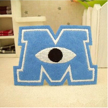 A letter M eye rugby logo patch Hot melt adhesive clothing patch applique embroidery blossom DIY accessories 5pcs/lot