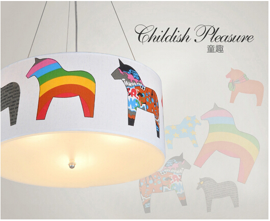 2015 newest on sale led e27 3 heads horse cute fabric&amp;toughened glass pendant lamp childrens room lamp DY-1163<br><br>Aliexpress