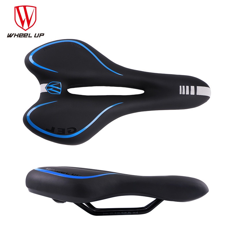 WHEEL UP Breathable Soft bike Bicycle Saddle PVC Leather Comfortable Road Mtb Mountain Bike Seats Thick Pad Cycling Parts Hollow<br>