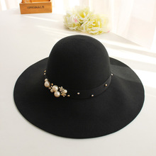Pearl wool hat Korea autumn winter children retro elegant - Korean large ceremonial hat along the all-match(China)