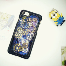 Vintage Epoxy Glitter Powder 3D Wheel Gear Case for iPhone 7 7plus 6 6s 6plus Plastic Hard Back Case Funda Cover