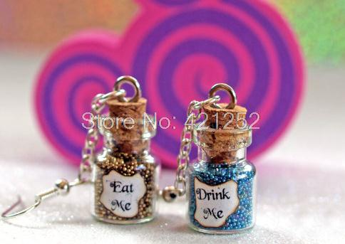 6pairs Eat Me and Drink Me Alice in Wonderland Magical glass Bottle dangle Earrings