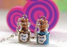 6pairs Eat Me and Drink Me Alice in Wonderland Magical glass Bottle dangle Earrings(China)