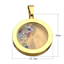 Stainless Steel Pendants box with Rhinestone Flat Round Crystal Glass Pendants Necklace for women Jewelry gift(China)