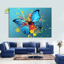 YWDECOR Graffiti Butterflies Fluttering Creative Abstract Canvas Painting on Canvas Poster Wall Art  Living Room Home Decor