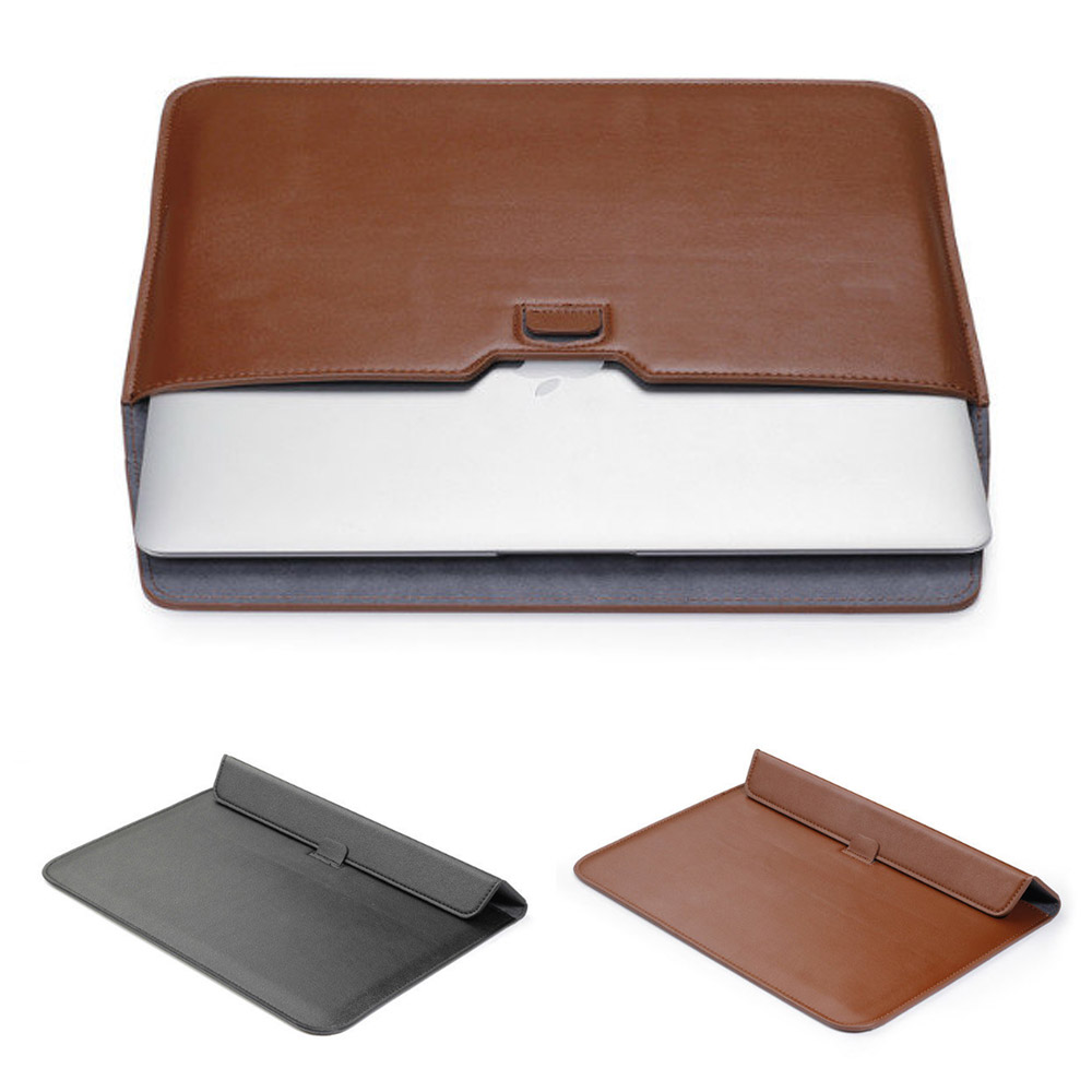 Support Stand Thinner Liner Sleeve Laptop Bag For Macbook Air 11 13 Pro Retina 13 15  PU Leather Cover<br><br>Aliexpress