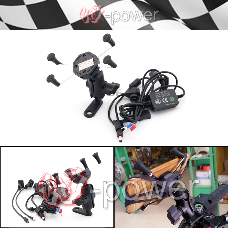fite For KAWASAKI Z125 Z250 Z300 Z750 Z800 Z1000 Motorcycle navigation frame Mobile phone holder with usb charger<br>
