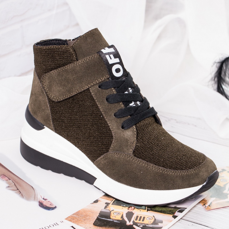 BELISS 2018 spring autumn ankle boots wedges cow suede leather platform hook loop women sneakers (7)