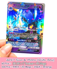 2017 NEW 100/set Anime Figure Game TCG English flash cards Sun Moon Card Battle GX Card MEGA EX cards Toys for kids best gifts