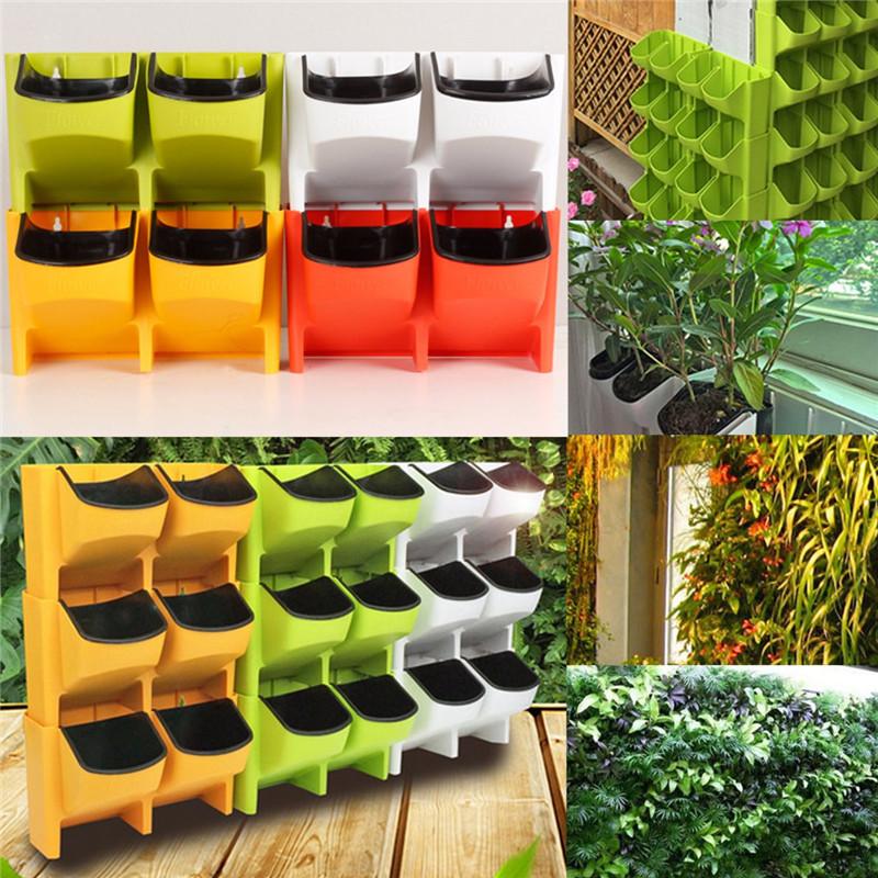 Stackable 2-Pockets Vertical Wall Planter Self Watering Hanging Garden Flower Pot Planter for Indoor/Outdoor 3