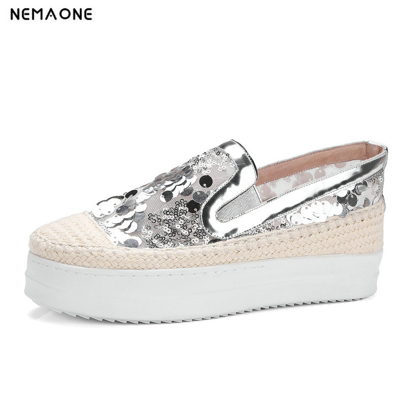NEMAONE 2018 genuine leather Women Pumps white silver wedges shoes high heels platform shoes woman<br>