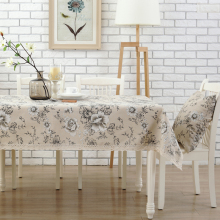 Small fresh linen tablecloths table  cloth garden peony square tablecloth custom style ink