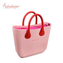 ANLAIBEIER Mini Ambag EVA bag with colourful waterproof canvas insert inner pocket short rope leather handle Obag O bag Design